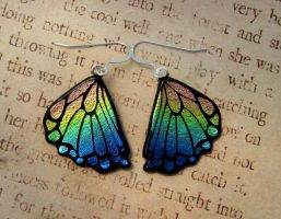 Rainbow Rear Butterfly Wings Fused Glass by FusedElegance