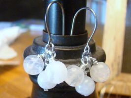 Moonstone Cluster Earrings by Mommy-of-Monsters