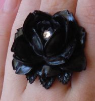 Black Rose Swarovski Ring by FatallyFeminine