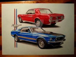 '67 coupe and '69 Mach1 by przemus