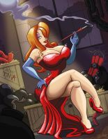 Jessica Rabbit plays with Fire by JMcInnis23