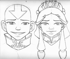 Avatar and his lady sketch by AmiraElizabeth