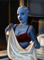 Liara in red lingerie by AHague