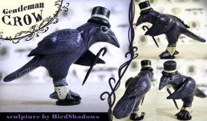 Gentleman Crow Sculpture by Crowtesque