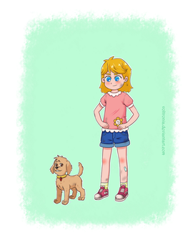 Girl and puppy by voltronia