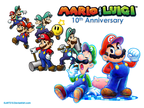 Mario and Luigi 10th Anniversary Wallpaper by Kulit7215