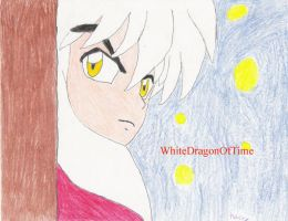 InuYasha behind a Tree by Whitedragonoftime