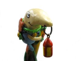 Mr. Drippy polymer clay pen (top) by Brisbykins