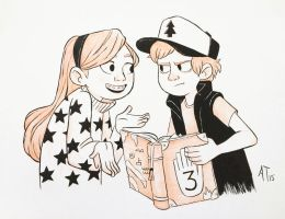 INKtober 2015- Dipper and Mabel by AlyssaTallent