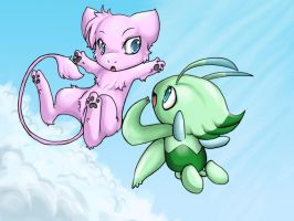 +Mew and Celebii+ by Sprinkling-stars