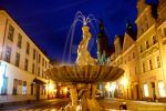 CITY FOUNTAIN IN NIGHT by magicandbrother