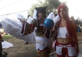 Erza and Ahri the nine-tailed fox by martylovespinkfloyd