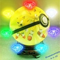 Super Sonics and chaos emeralds in pokeball  by Blazestar39503