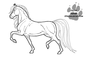Saddlebred Stallion Line Art by LittleKirara