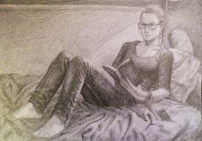 Girl reading by Soldierski