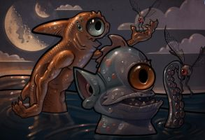 Fins and eyes in Skribbleland by Mateteag