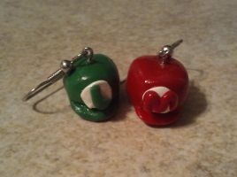 Mario and Luigi hat earrings by ScraggyCrafts