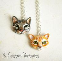 Custom portrait necklace with your cat by FlowerLandBySaraMax