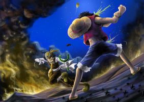 Luffy vs Usop by farenheat