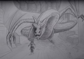 Smaug the tyrannical and bilbo the barrel rider by kedrednael