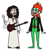 Electric Guitar Jesus and Christmas Satan by RussianYoshkinaNeko