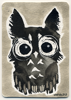 ACEO Ink Owl 01 by Myrntai