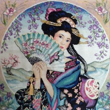 Geisha Cross stitch by Olcanna