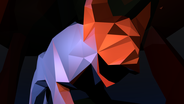 Low Poly Wolf Desktop Background by 212b