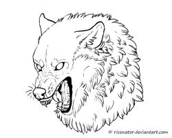 FREE Wolf Lineart by ricenator