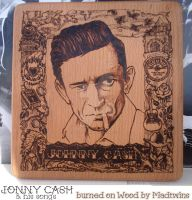 Johnny Cash pyrography by Vikrapuff