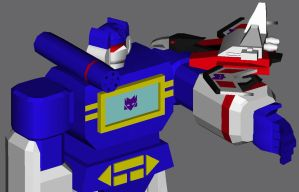 3D Soundwave and Laserbeak by katiewhy