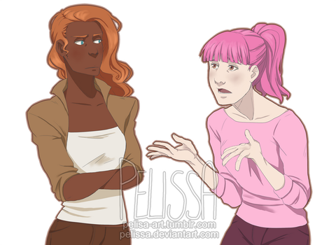 Aphra and Stephanie have a talk by Pelissa