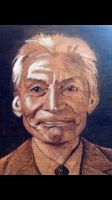 Charlie Watts portrait wood burn by LUKAS-87