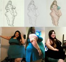 SSBBW Dankii Bombshell Drawing Process to Photos by ENT2PRI9SE