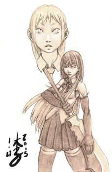 Girl with Sword - Spear Sketch by arcais