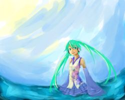 Miku in the Sea (unfinished) by DayDreamingDuck