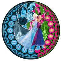Kingdom Hearts: Elsa and Anna Stain Glass Window by jesuslover22