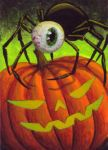 Eye Spider on Pumpkin by TabLynn