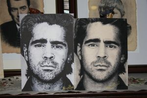 colin farrell side by side. copic and charcoal by ricardo-bruins