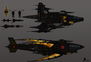 Tenebrean Heavy fighter and Gunship by TenebraesRising