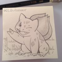 Post-It Note Pokemon #001 Peace sign Bulbasaur by WillPetrey