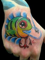 fishing lure tattoo by GrizzlyGreenEyes