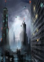 System Binary Star. cityscape by sheer-madness