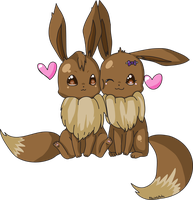Eevee Snuggle (Old art) by foxlett