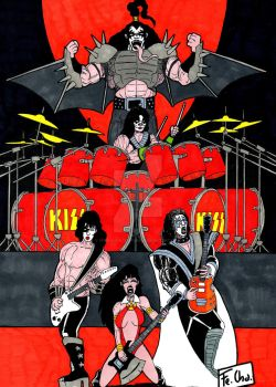 Vampirella rocks with KISS by fernandochapado