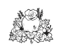 Skull and Flowers by TTwenty