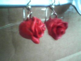 red rose earrings *not for sale* by sky-amethyst