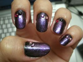 Black-Purple Gradient Nail Art by kirarachan