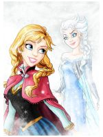 Anna and Elsa by rebenke