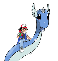Ash with Dragonair by Mighty355